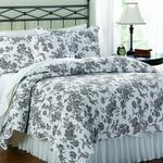 House Brands Black French Bouquet Duvet Set With 2 Standard Pillow Cases