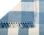 Amelia Jackson Dhurrie Checks Rug Sky Blue & White Blue & White