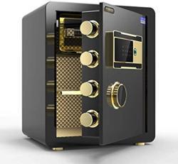 USA Wall Safes Electronic Home Safe With Medium Office Fingerprint Safe MINI Alarm Bedside Table Cabinet Safes Color : Black Size : 363345CM