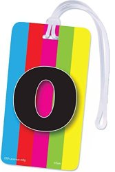 INITIAL Luggage Tag Letter O Personalized Id Tag Colorful Tv Test Pattern Design O