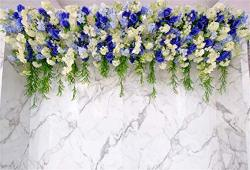 Leyiyi 10X6.5FT Wedding Ceremony Backdrop Romantic Marriage Stage Floral Frame Garland Arch Door Background Marble Texture Wall Engagement Party Bridal Shower Photo Portrait Studio