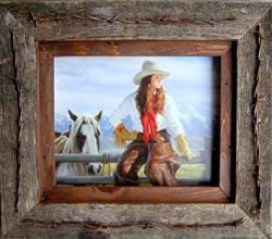 """ABW My Barnwood Frames - Reclaimed Barnwood 8X10"""" Picture Frame With Barbed Wire Detail And Light Walnut-stained Inner Border"""