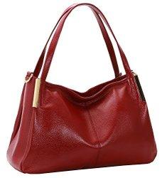 74d87a343699 Heshe Women's Leather Handbags Top Handle Totes Bags Shoulder Handbag  Satchel Designer Purse Cross Body Bag For Office Lady Wine