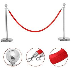 Illinoisdeal 2 Silver Stanchion With Red Velvet Rope Post Crowd Control Queue Pole Barrier