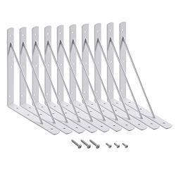 Home Master Hardware 10 X 8 Inch Shelf L Brackets Shelf Support Corner Brace Joint Right Angle Bracket White With Screws 10-PACK White