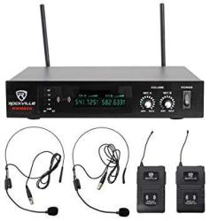 Rockville RWM80U Dual Uhf Headset & Guitar Wireless Microphone System W lcd