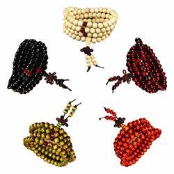 Raintoad 5 Beads Bracelet Chinese Style Rosary Men's Bracelet 108 Beads 8MM Red Black Yellow Green White