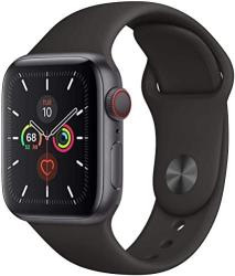 Apple Watch Series 5 Gps + Cellular - 40MM Space Gray Aluminum Case With Black Sport Band Renewed