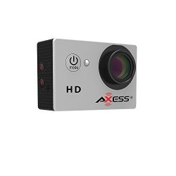 Axess CS3603 720P HD Wide Angle Lens Sports And Action Camera With Waterproof Housing And Accessories Silver