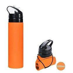 CHRISLZ Collapsible Water Bottle BPA Free Leak Proof Silicone Portable Sports Water Bottle 800ML,27 oz ORANGE 27 oz ORANGE