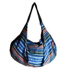 BTP Large Handmade Cotton Handbag Purse Shoulder Bag Backpack Hippie Hobo Hand Woven Ikat Multicolor IK36