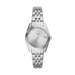 Fossil Women Scarlette MINI Silver Round Stainless Steel Watch - ES4897
