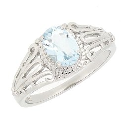Bl Jewelry Filigree Sterling Silver Oval Cut Natural Aquamarine Ring 3 4 Ct.t.w
