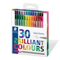 Staedtler Triplus Fineliner Pens - Assorted Pack Of 30