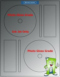 50 Photo Gloss Compatible Memorex Full Face Cd DVD Labels. Small Center Style. 50 Total Glossy Cd Labels With Spine And Case Labels.
