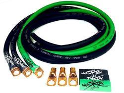 Sky High Car Audio Sky High Oversized 4 Gauge Awg Big 3 Upgrade Green black Electrical Wiring Kit