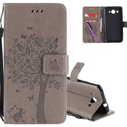 Hmtech Huawei Y3 2017 Case 3D Embossed Love Tree Cat Butterfly Pattern Handmade Pu Flip Stand Card Holders Wallet Protective Cov