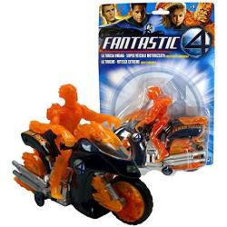 Marvel Year 2005 Fantastic Four Series 7 Inch Long Motorized Bump And Go Vehicle Set - Human Torch's Flame Cycle With Light Up Headlight
