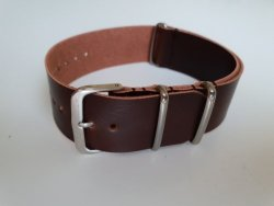 22MM Faux Leather Nato Watch Strap Brown