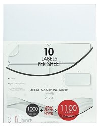 Avery 5163 8163 Labels Enko 110 Sheets 1100 Labels - 2X4 Inches - White - Address Mailing Shipping & Barcode Blank Labels For Laser And Inkjet Printers Self Adhesive