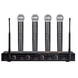Wireless Microphone Karaoke System Professional Microphone Wireless 4 Channel Handheld Dynamic Mics 4 Microphone + Karaoke For School Meeting Church