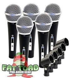 Studio Recording Microphones With Clips 5 Pack By Fat Toad|vocal Handheld Unidirectional Mic|professional Cardioid Dynamic Singing Microphone Desig