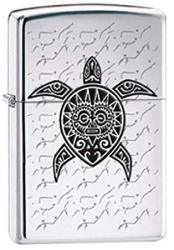 Polynesian Hawaiian Sea Turtle Tattoo Chrome Zippo Lighter