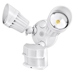 Hykolity 36W Pir Motion Detector LED Security Light Infrared Motion Sensor 3600LM Outdoor Wall Mount Floodlight White 250W Halogen Equivalent 5000K Waterproof Adjustable Dual Head