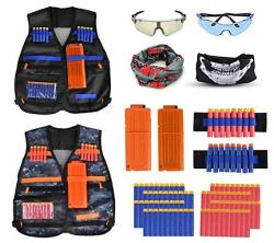 Fstop Labs 2 Pack Set Kids Tactical Jacket Vest Kit For Nerf N-strike Gun Wars 80 X Refill Darts 2 X Reload Clips 2