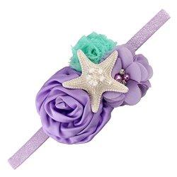 Aqua Yanjie Lavender Glitter Starfish Mermaid Headband For Baby Birthday Gift M Lavender