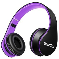 BestGot Headphones Over Ear With Microphone For Kids Adult In-line Volume With Transport Waterproof Bag Foldable Headphone With 3.5MM Plug Removable Cord Black purple