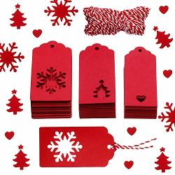 Leinuosen 150 Pieces Christmas Gift Tags Kraft Gift Tags Snowflake Heart And Christmas Trees Shapes With 20 Meters Twine For Diy Arts And Crafts