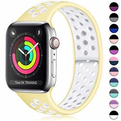 Ilopee Sweat-proof Sport Band Compatible With Apple Watch 38MM 40MM Series 5 4 3 2 1 Light Yellow white S m
