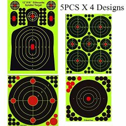 GearOZ Splatter Shooting Target Stickers Splatterburst Reactive Targets For Bb Pellet Airsoft Guns 12 X18 Inch Silhouette Target