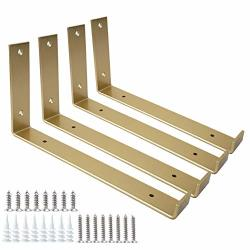 SHELF Brackets 12 Inch 4PCS Heavy Duty Golden Wall Bracket With Lip For Floating Shelves Rustic Iron Metal Bracket For Diy Open Shelving Hardware Included