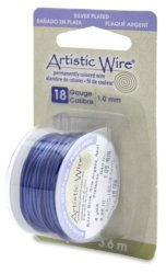 Beadalon Artistic Wire 18-GAUGE Silver Plated Silver Blue Wire 4-YARDS