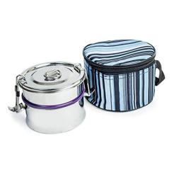 Double Leak-proof Decker Stainless Steel Lunch Box 2 Tier Cylindrical Tiffin Box With Insulated Carry Bag  Bpa And Phthalate Fre