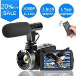 Video Camera Vlogging Camera With Microphonefull HD 1080P 30FPS 24.0MP Camcorder For Youtube Support Remote Controller