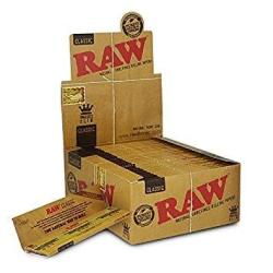 Raw Classic King Size Slim Rolling Paper Full Box Of 50 Packs