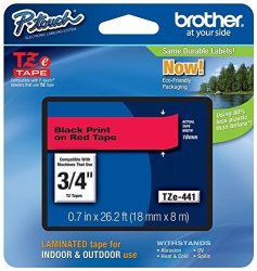 "Brother Printer Brother P-touch Genuine TZE-441 3 4"" 0.7"" Black On Red Standard Laminated Tape -26.2 Ft 8M TZE441"