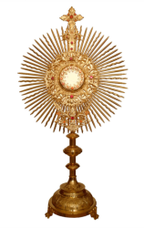 52CM - 24KT Gold Plated Monstrance With Ruby Stones