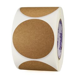"Chromalabel.com 3"" Brown Kraft Paper Stickers Permanent Adhesive Writeable Surface - 500 Labels Per Roll"