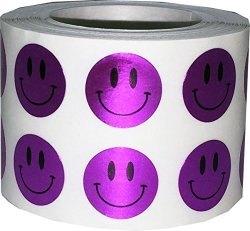 InStockLabels.com Smiley Face Stickers Metallic Purple Happy Face Labels For Teachers 1 2 Inch Round Circle Dots 1 000 Adhesive Stickers