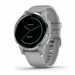 Garmin V Voactive 4S Smaller-sized Gps Smartwatch Features Music Body Energy Monitoring Animated Workouts Pulse Ox Sensors And More Silver With Gray Band