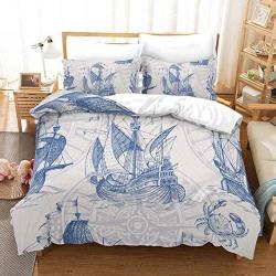 Erosebridal Nautical Decor Duvet Cover Set Sailboat Quilt Cover Set King Size Blue Vintage Style Bedspreads Microfiber Bedding S