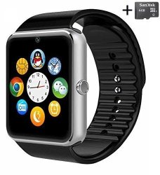 Aosmart Silver Bluetooth Touch Screen Smart Wrist Watch With Camera And 4GB Micro Sd Card