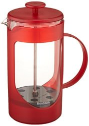 BonJour Coffee Unbreakable Plastic French Press 33.8-OUNCE Ami-matin Tm Red