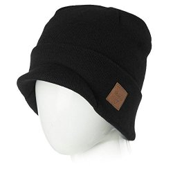 f9ab230a0ce Siggi Mens Winter Jeep Beanie Hat Cap Wool Knit With Visor Bill For Women  Guys Black XL Large