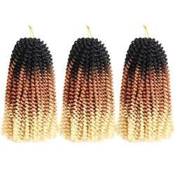 Spring Twist Hair Synthetic Braiding Hair Extensions Ombre Colors 3 Packs Synthetic Braiding Hair Extensions 8 Inch Fashion Croc