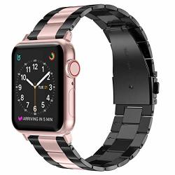 Wearlizer Stainless Steel Compatible With Apple Watch Band 38MM 42MM Women Men Ultra-thin Lightweight Replacement Band Strap Compatible For Iwatch Bands Series 5 4